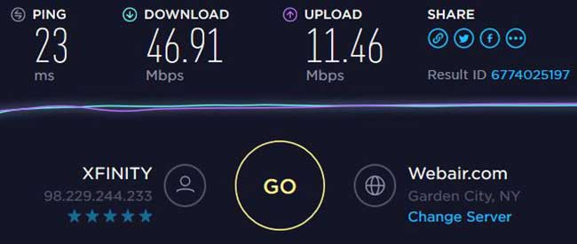 Victony Powerline Network Adapter Speed Results 01